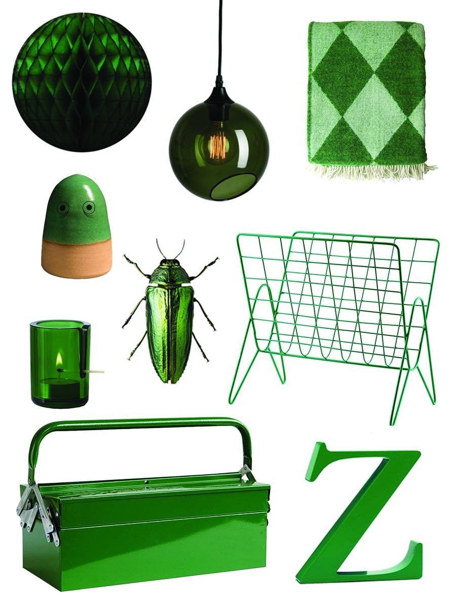 indret med grøn