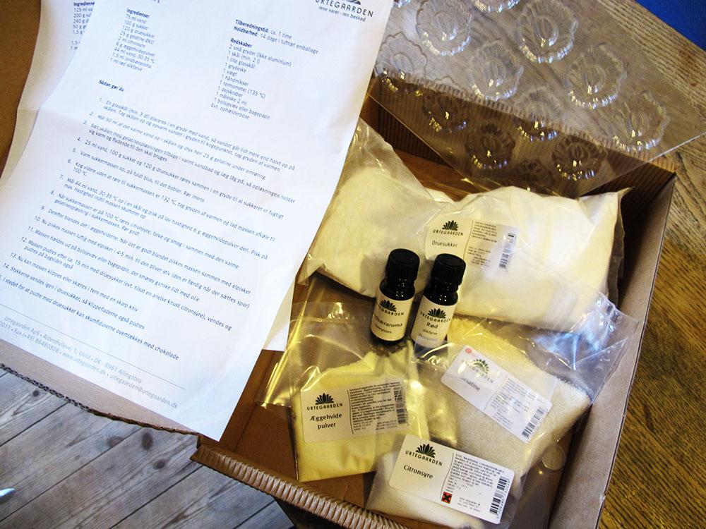 Pakke med alt til hjemmelavet vingummi plus vingummi opskrift